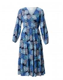 Blue Coral Print Midi Dress