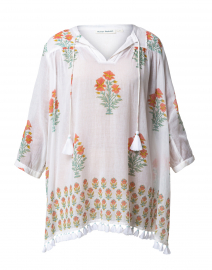 Serafine Ivory Floral Printed Cotton Tunic