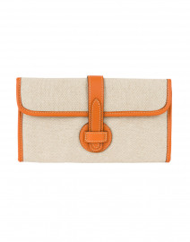 Adrian Orange Linen and Leather Clutch