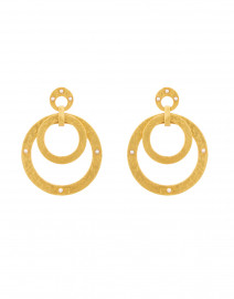 Crescent Gold and Pearl Statement Earrings