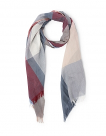 Burgundy, Grey and Beige Checked Wool Scarf