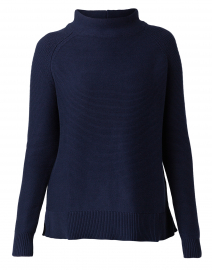 Navy Garter Stitch Cotton Sweater