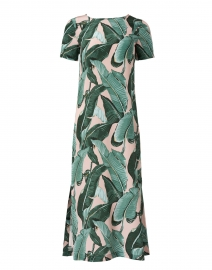 Sir Green and Pink Palm Print Silk Dress