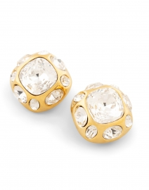 Kenneth Jay Lane - Crystal and Gold Square Clip Earrings