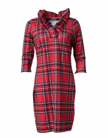 Red Tartan Ruffle Neck Dress