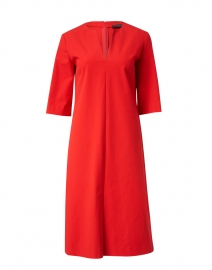 Red Stretch Cotton Crepe Dress