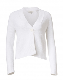White Ribbed Cotton Cardigan