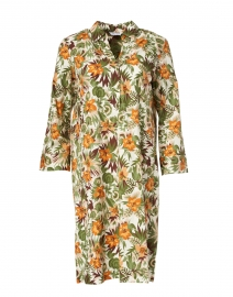 Orange and Green Tropical Printed Stretch Cotton Dress
