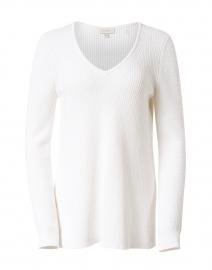 White Cotton Easy Rib Sweater