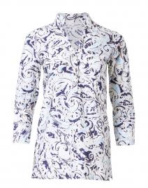 Blue Paisley Printed Stretch Cotton Tunic