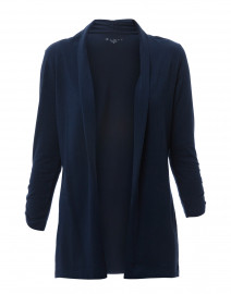 Navy Ruched Sleeve Cotton Cardigan