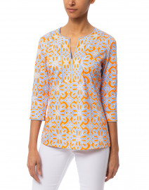 Gretchen Scott - Piazza Periwinkle and Orange Printed Tunic