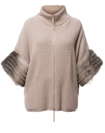 Beige Ribbed Wool Cardigan With Fur Cuffs