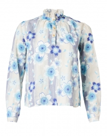 Ines Blue Floral Printed Cotton Blouse