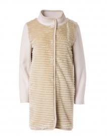 Beige Wool and Faux Fur Coat