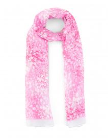 Pink Florettes Print Linen Blend Scarf
