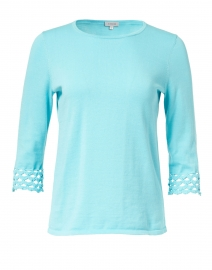 Aqua Pima Cotton Crochet Cuff Top