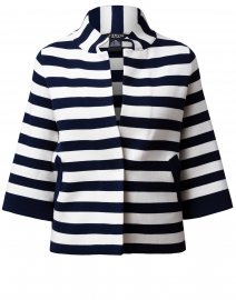 Navy and White Striped Viscose Swing Jacket