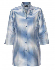 Rita Caribbean Check Gingham Silk Top