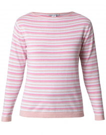 Pink and White Triple Striped Cotton Sweater