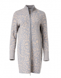 Grey and Beige Leopard Wool Cashmere Cardigan