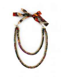 Duo Curb Floral Georgette Chain Necklace