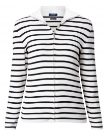 Brooklyn Ivory and Navy Striped Cotton Zip Cardigan