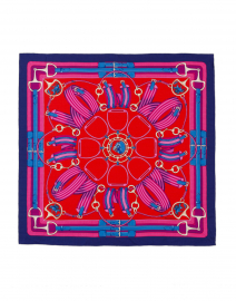 Rani Arabella - Twilight Blue and Pink Silk Cashmere Scarf