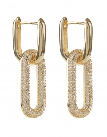 Gold Pave Firenze Dangle Hoop Earrings