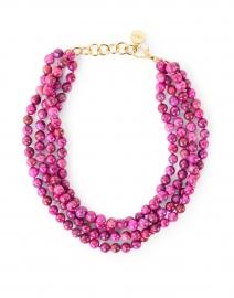 Purple Magenta Beaded Multi-Strand Necklace