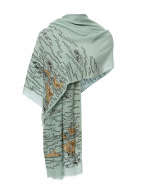 Seafoam Gold Hippopotamus Embroidered Merino Wool Scarf