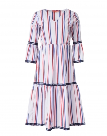 Tyne White, Red and Navy Striped Cotton Dress
