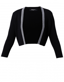 Black Cropped Cardigan With White Trim