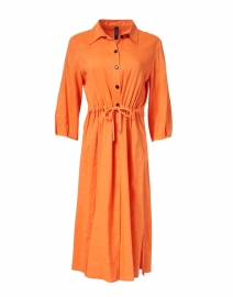 Orange Stretch Linen Shirt Dress