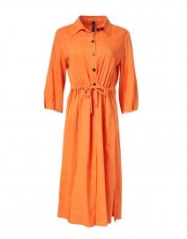 Orange Stretch Linen Shirt Dress