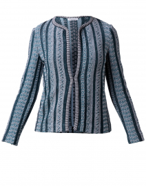 Cipresso Teal Striped Cotton Cardigan