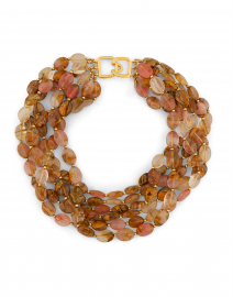 Kenneth Jay Lane - Pink Quartz and Gold Beaded Necklace