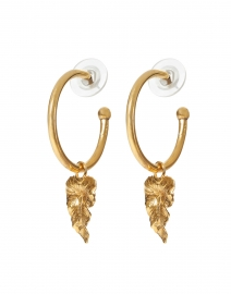 Hansel Gold Leaf Drop Hoop Earring