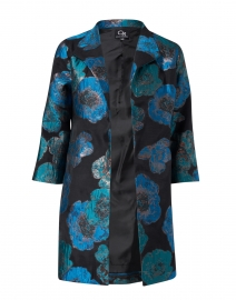 Canal Teal Metallic Printed Floral Jacket