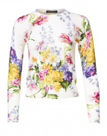 Charlotte White Rembrandt Floral Silk and Cashmere Sweater