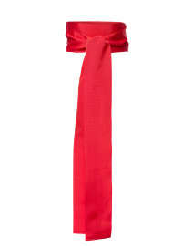 Coral Pink Wide Ribbed Satin Belt