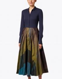 Sara Roka - Marti Navy and Teal Taffeta Shirt Dress