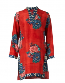 Eli Red Queen Flower Print Silk Top