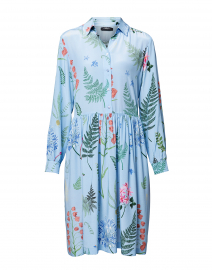 Acerbi Light Blue Flower Printed Silk Dress
