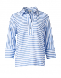 Aileen Blue and White Striped Cotton Top