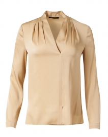 Nellie Flax Gold Stretch Silk Georgette Blouse