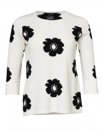 White and Black Floral Knit Top