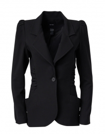Black Ruched Twill Blazer Jacket