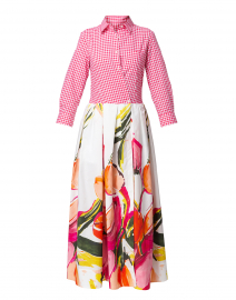 Elenat Pink and White Printed Maxi Dress
