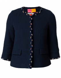Paula Navy Cotton Tweed Fringe Jacket